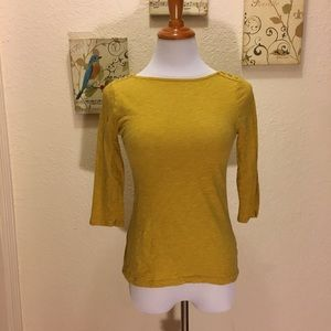 A New Day Target XS Mustard 3/4 Boatneck Shirt